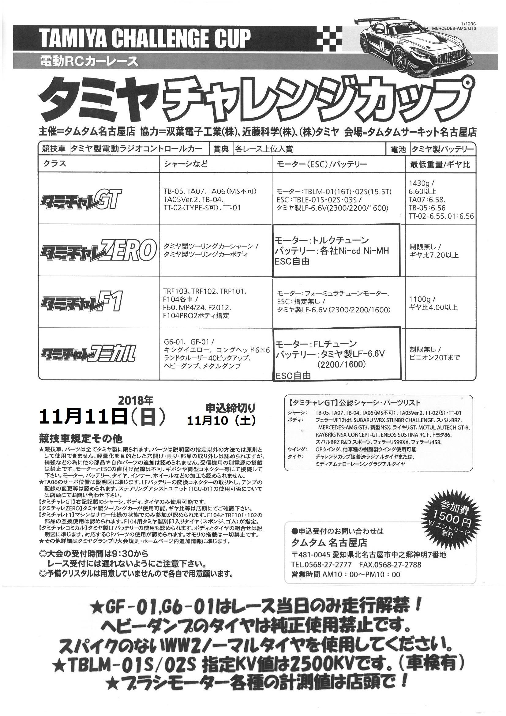 タミヤチャレンジ開催のお知らせ